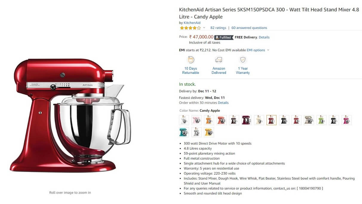Amazon KitchenAid Mixer Product Page