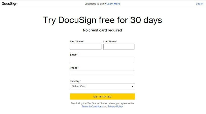 DocuSign Sign up Page