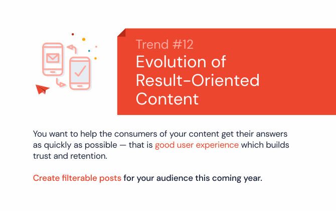 Evolution of result-oriented content