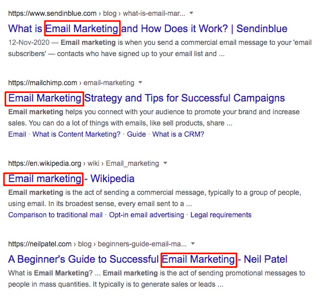 Email Marketing Search Results